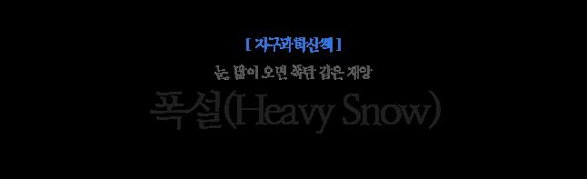 폭설(Heavy Snow) 눈, 많이 오면 폭탄 같은 재앙